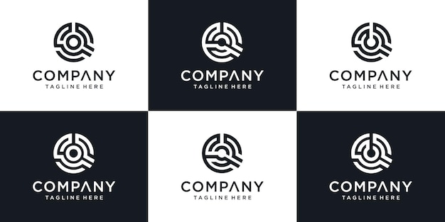 Zestaw monogram streszczenie pierwsza litera q ikona logo szablon projektu.