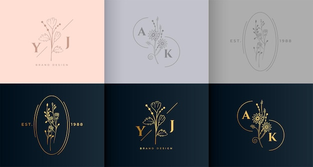 Zestaw monogramów z minimalnym kwiatowym kwiatowym logo