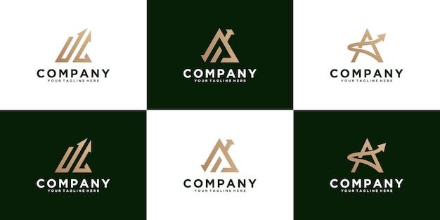 Zestaw monogramu litery a logo ze strzałką