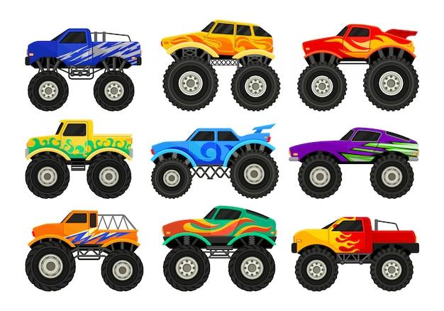 Zestaw monster trucków. ciężkie samochody z dużymi oponami i przyciemnionymi czarnymi szybami. do plakatów reklamowych, gier komputerowych lub mobilnych