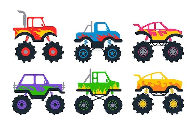 Zestaw monster trucków. pickup z dużymi kołami.