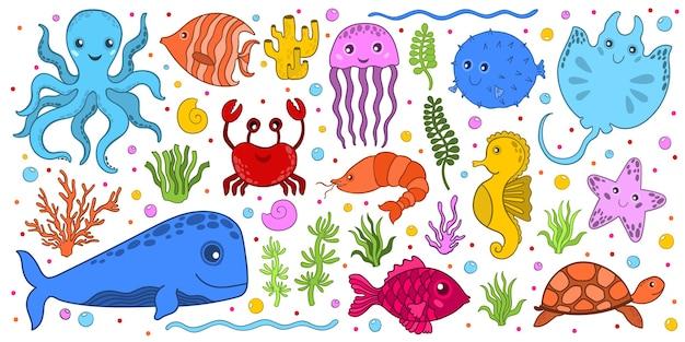 Zestaw morskich zwierząt podwodnych w stylu cartoon