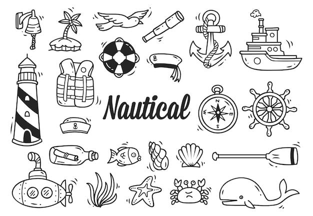 Zestaw morskie doodle