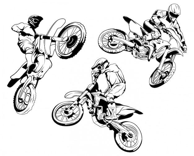 Zestaw motocykla wyścigowego. kolekcja sylwetki jeźdźców na motocyklu w różnych pozach.