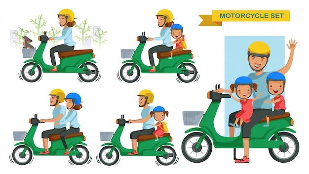 Zestaw motocykli jeździeckich. gesty osób prowadzą motocykle. para jedzie na motocyklu. jedź bezpiecznie z synem i córką, noś kask.