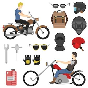 Zestaw motocyklisty, narzędzia iclude, okulary, kask, kominiarka, plecak