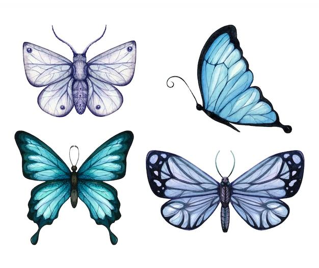 Zestaw motyli akwarela