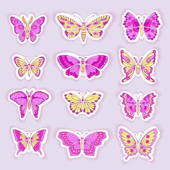 Zestaw motyli dekoracyjne na białym tle sylwetki w wektorze