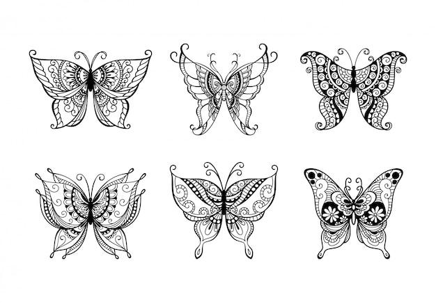 Zestaw motyli sztuki linii dekoracji
