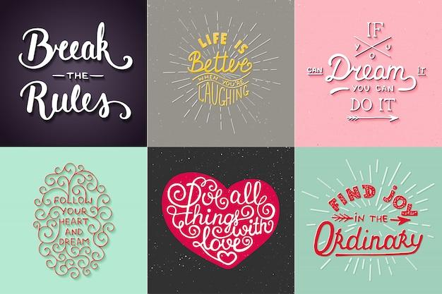 Zestaw motywacyjnej i inspirującej typografii
