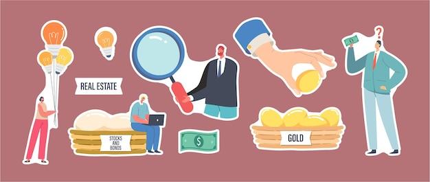 Zestaw motywów dywersyfikacji naklejek i zarządzania ryzykiem. małe postacie przy ogromnym koszu ze złotymi jajkami, kobieta z żarówkami, mężczyzna z lupą. ilustracja wektorowa kreskówka ludzie