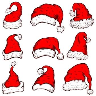 Zestaw motywu bożego narodzenia czapki świętego mikołaja. element projektu lub plakat, kartka z życzeniami, baner, ulotka, dekoracja.