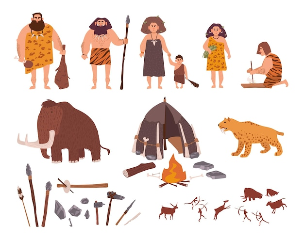 Zestaw motywu epoki kamienia. prymitywni ludzie, dzieci, mamuty, narzędzia do mieszkania, polowania i pracy, tygrys szablozębny, ogień, rzeźby naskalne. kolekcja kolorowych wektorów w stylu cartoon.