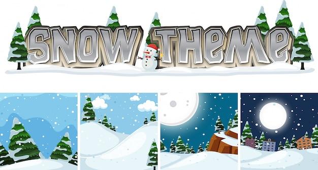 Zestaw motywu zimowego krajobrazu śniegu
