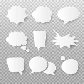 Zestaw mowy bańki biały pusty papier i myśli. kreskówka pop-art i komiks pęcherzyki z miękkim cieniem. ilustracja wektorowa na białym tle.