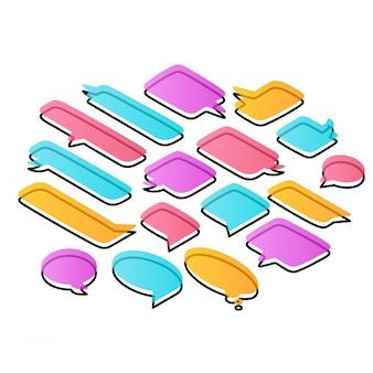 Zestaw mowy kolorowe bąbelki o różnych kształtach, na białym tle. izometryczny