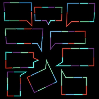 Zestaw mowy pęcherzyki liniowe ikony kolorowe linie kropkowane