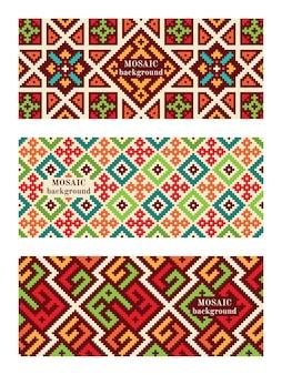 Zestaw mozaiki z płytkami. nowoczesne tekstury geometryczne