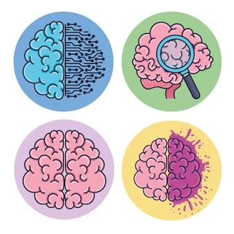 Zestaw Mózgów Ludzi Premium Wektorów