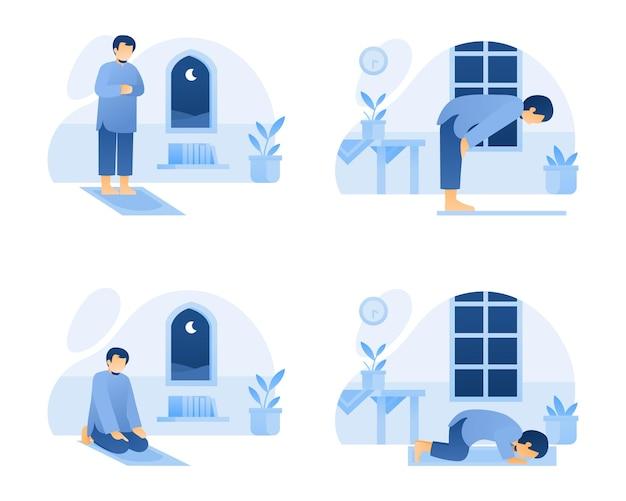 Zestaw muzułmański mężczyzna robi salah lub módlcie się ilustracja