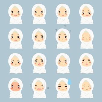 Zestaw muzułmańskich cute dziewczyna pół ciała z różnych wyrażeń twarzy.