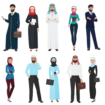 Zestaw muzułmańskich ludzi biznesu arabskiego