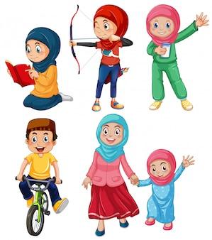 Zestaw muzułmańskich ludzi