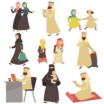 Zestaw muzułmańskich mężczyzn i kobiet w życiu codziennym