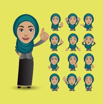 Zestaw muzułmańskiej kobiety z różnymi emocjami