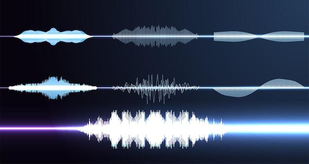 Zestaw muzycznych fal dźwiękowych. technologia cyfrowego korektora dźwięku, panel konsoli, muzyka pulsacyjna. zaawansowany głos asystenta ai
