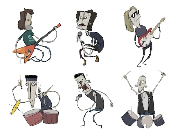 Zestaw muzyki rockowej. grupa muzyczna. gitarzyści, śpiewacy i perkusiści grają heavy metal.