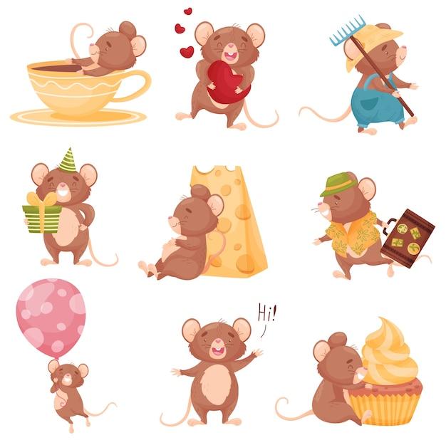 Zestaw myszy kreskówek w różnych sytuacjach