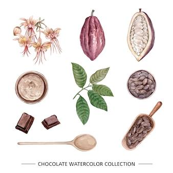 Zestaw na białym tle akwarela czekolady