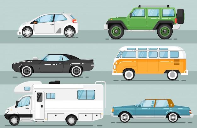 Zestaw na białym tle auto miasto pojazdu