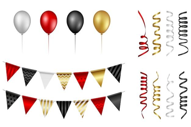 Zestaw na białym tle balony, serpentyny i proporczyki. czarny piątek lub elementy imprezowe