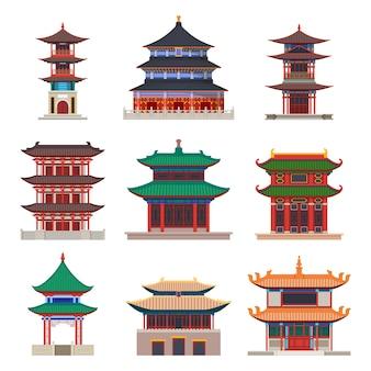 Zestaw na białym tle budynek pagody konstrukcja chińska lub japońska