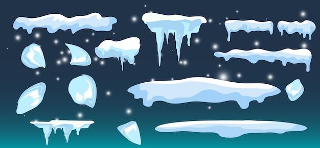 Zestaw na białym tle czapka śnieżna zimowa dekoracja domu
