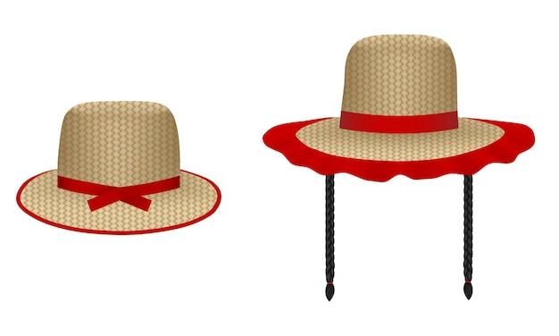 Zestaw na białym tle czapki festa junina czerwca elementy brazylijskiego festiwalu