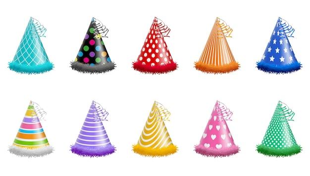 Zestaw na białym tle czapki urodzinowe i imprezowe