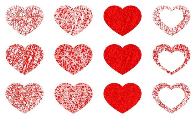 Zestaw na białym tle czerwone serce ikona, kolekcja symbol miłości na białym tle.