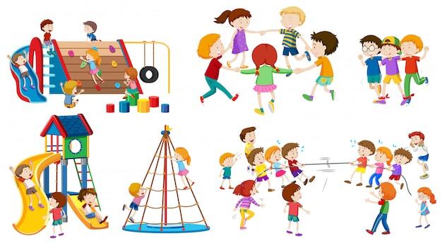 Zestaw na białym tle dziecko na placu zabaw
