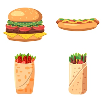 Zestaw na białym tle fast food. kreskówka zestaw fast food