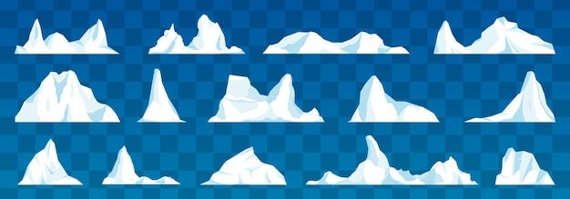 Zestaw na białym tle góry lodowej lub dryfującego lodowca arktycznego.