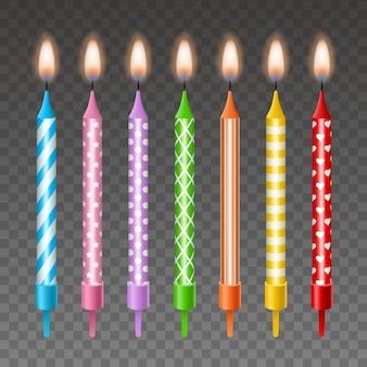 Zestaw na białym tle kolorowe urodzinowe świeczki