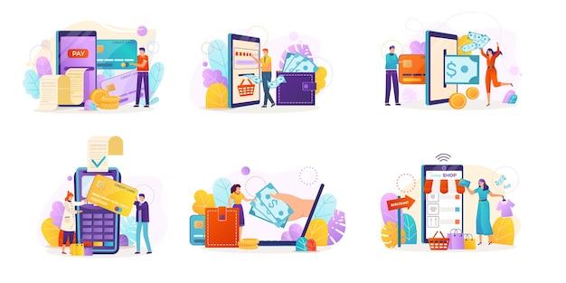 Zestaw na białym tle koncepcja płatności mobilnych
