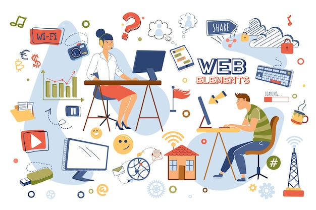 Zestaw Na Białym Tle Koncepcji Elementów Sieci Premium Wektorów