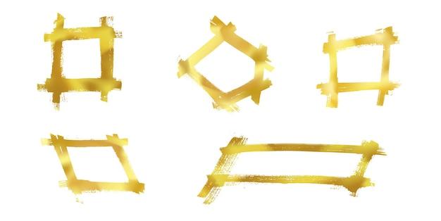 Zestaw na białym tle kwadratowych ramek ze złotym pędzlem