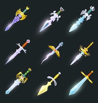 Zestaw na białym tle magiczne miecze