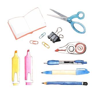 Zestaw na białym tle nożyczki akwarela, ołówek, długopis ilustracja do użytku dekoracyjnego.