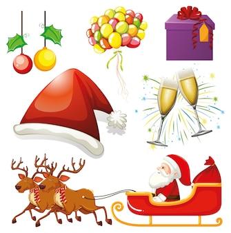 Zestaw na białym tle obiektów o tematyce bożonarodzeniowej